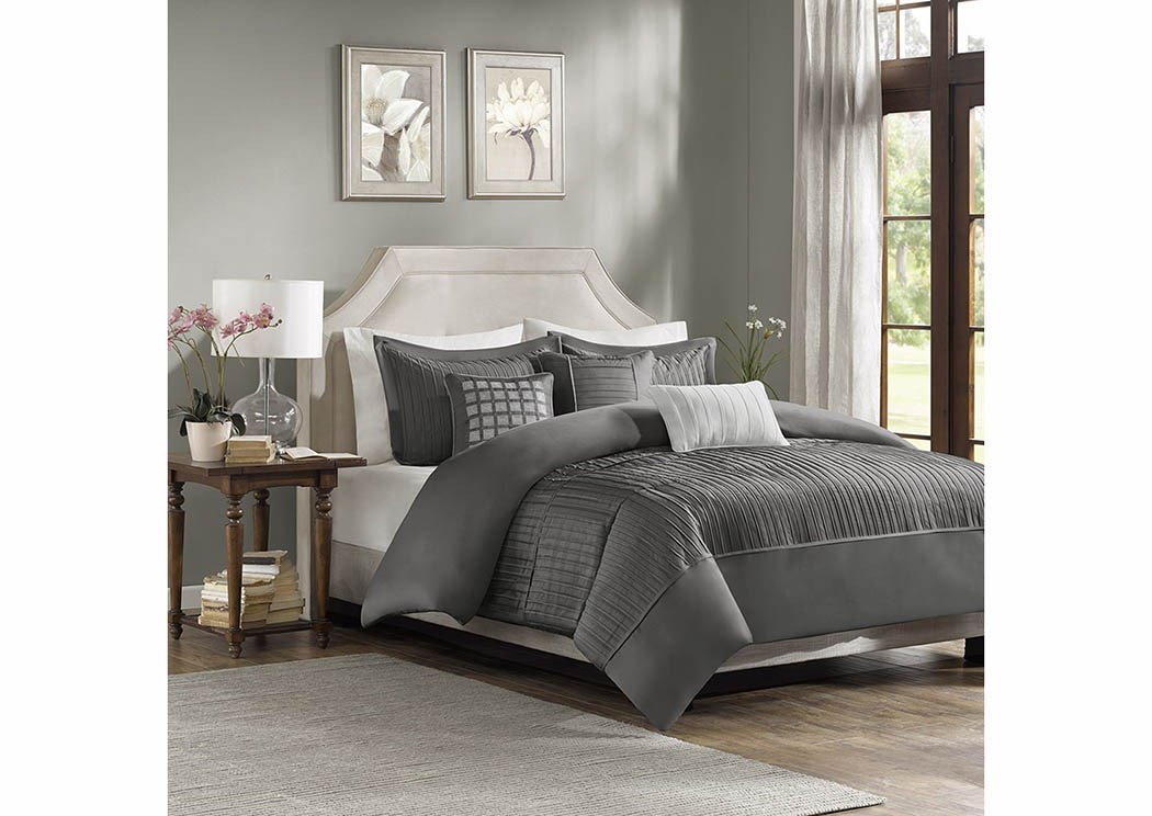 Trinity Grey 7 Piece Queen Comforter Set,Atlantic Bedding & Furniture