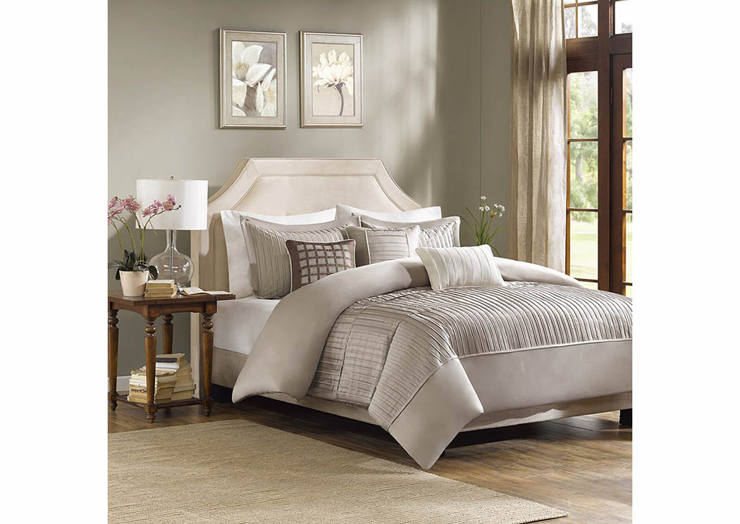 Atlantic bedding and furniture trinity taupe 7 piece queen for Atlantic furniture and bedding