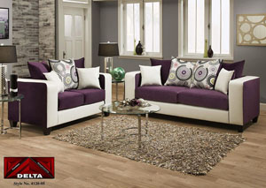 Implosion Purple/Demsey White Sofa