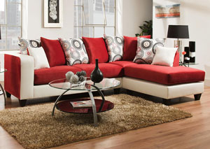 4124 Dempsey White/Implosion Cardinal Right Facing Chaise Sectional