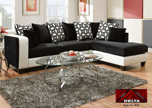 Implosion Black Sectional w/ Right Facing Chaise