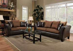 Jefferson Chocolate/Sierra Chocolate Sofa and Loveseat