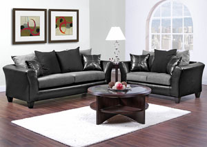 Jefferson Black/Sierra Gray Sofa and Loveseat