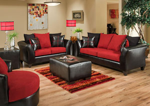Jefferson Black/Victory Lane Cardinal Sofa and Loveseat