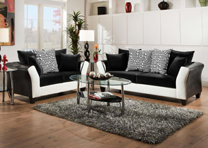 Jefferson Black-Avanti White/Implosion Black Sofa
