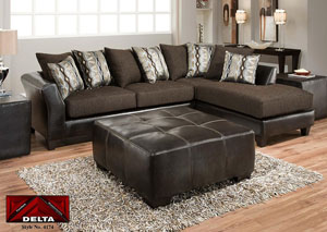 Jefferson Chocolate/Rip Sable Sectional w/ Right Facing Chaise