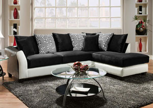 Jefferson Black-Avanti White/Implosion Black Sectional w/ Right Facing Chaise