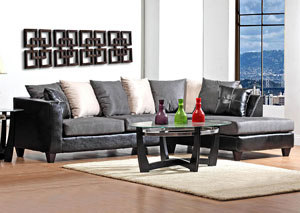 Jefferson Black/Sierra Graphite Sectional w/ Right Facing Chaise