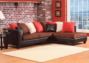 Jefferson Chocolate/Sierra Chocolate Sectional w/ Right Facing Chaise
