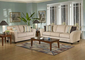 Viewpoint Tan Flair Spa Coffee Stationary Sofa and Loveseat