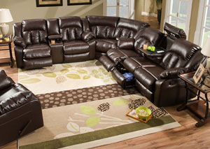 Sebring Coffebean Bonded Leather Double Motion Sectional w/ Table, Storage, and Lights