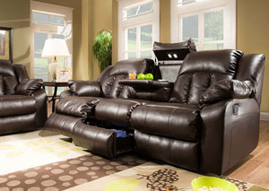 Sebring Coffebean Bonded Leather Double Motion Sofa w/ Table, Storage, and Lights