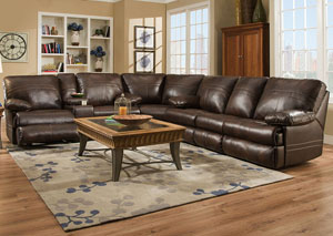 Miracle Saddle Bonded Leather Double Motion Sectional