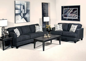Soprano Ebony Handcuff Trance Stationary Sofa and Loveseat