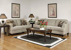 Soprano Radical Peppercorn Stationary Sofa and Loveseat