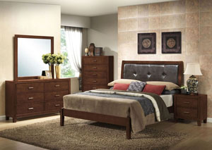 Murry Walnut King Upholstered Upholstered Bed