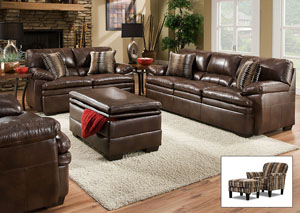Editor Brown Bonded Leather Match/Timbuktu Saddle Sofa