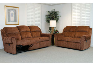 Santino Cabernet Reclining Sofa and Loveseat (Shown in Cinnamon)