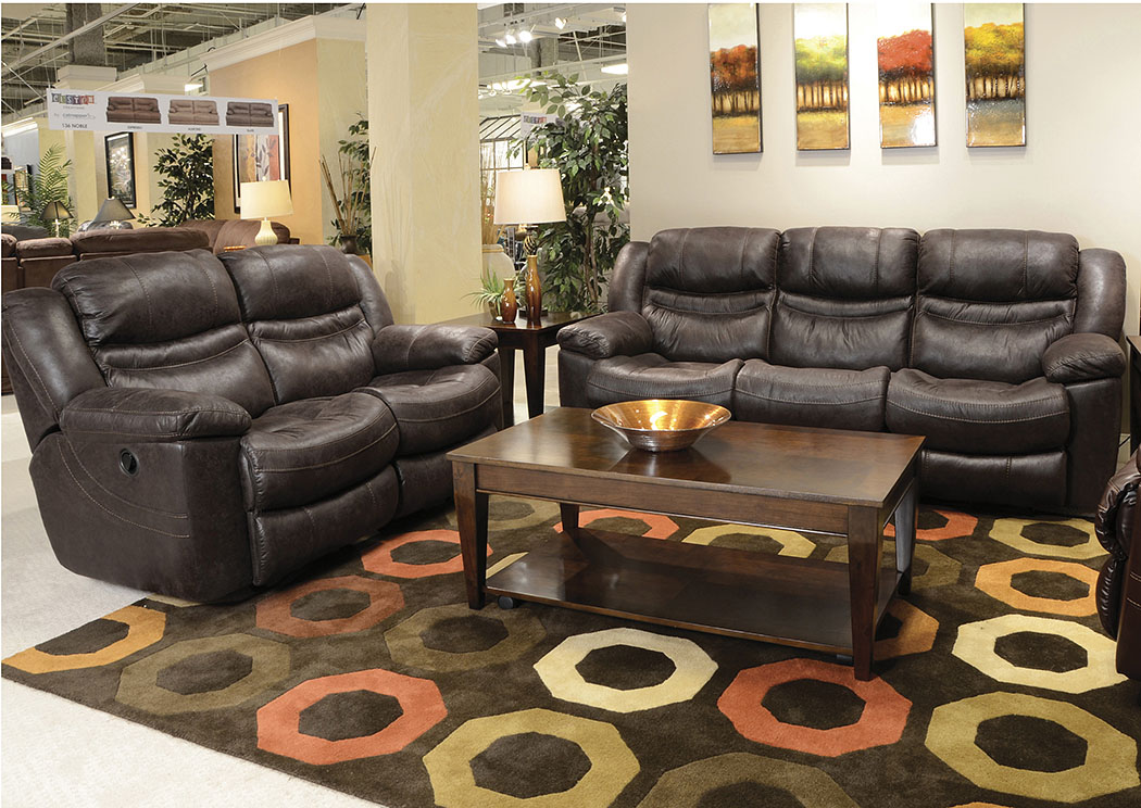 Valiant Coffee Reclining Sofa & Loveseat,ABF Catnapper