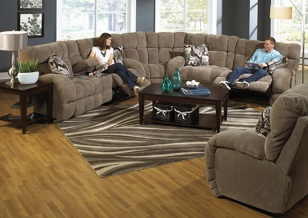 Siesta Porcini/Snickerdoodle Lay Flat Reclining Sofa Sectional,Catnapper