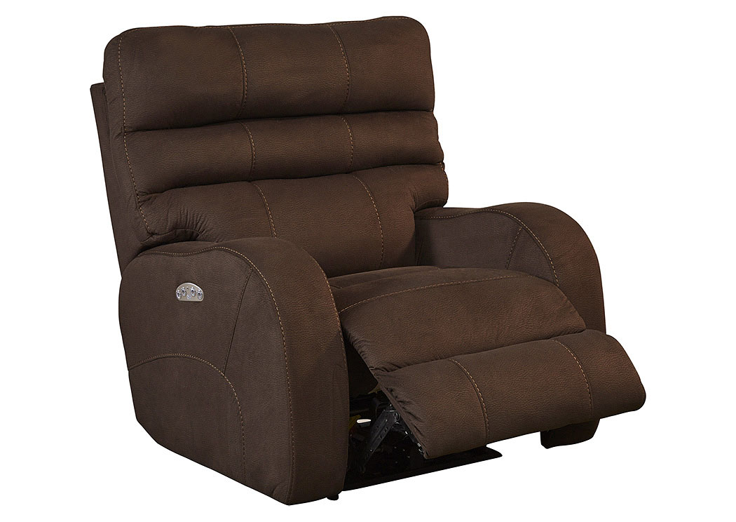 Kelsey Walnut Power Headrest Power Lay Flat Recliner,Catnapper