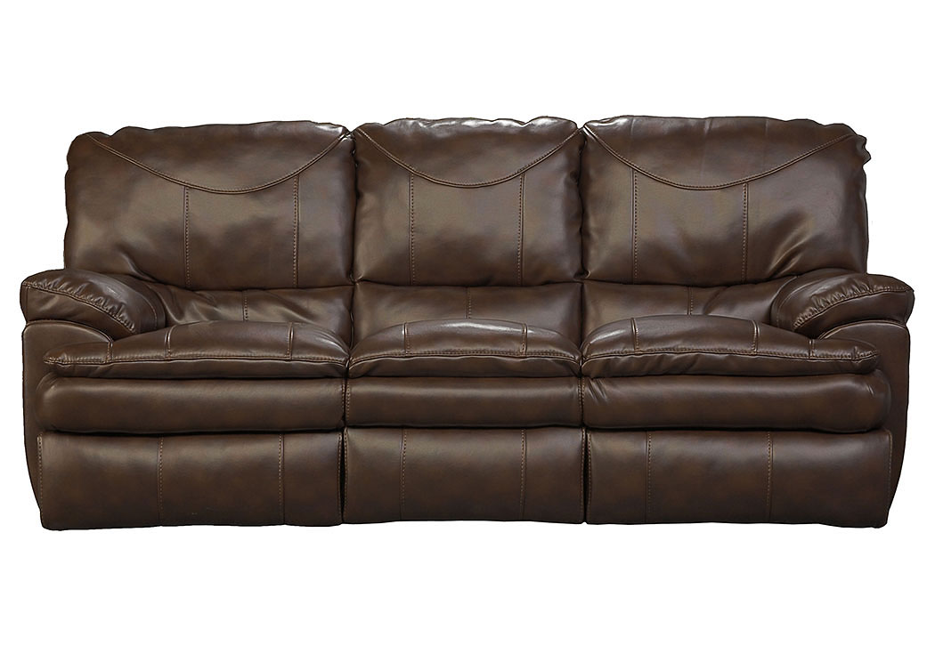 Jarons Perez Chestnut Bonded Leather Power Reclining Sofa