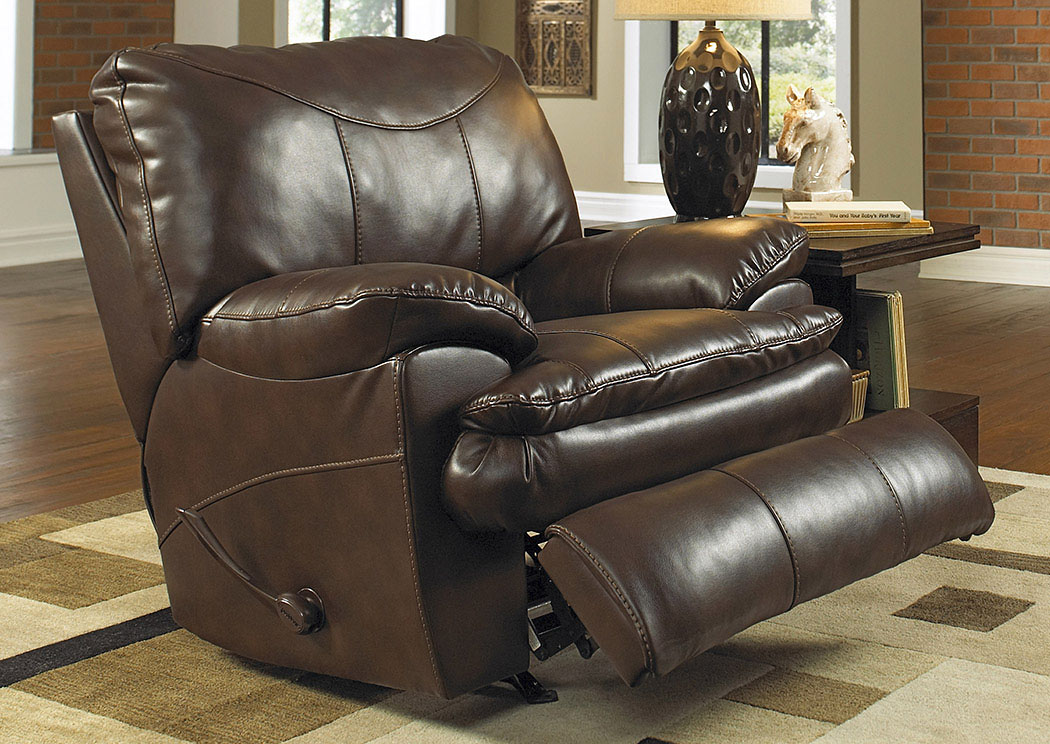 Compass furniture perez chestnut bonded leather power for Catnapper cloud nine chaise recliner
