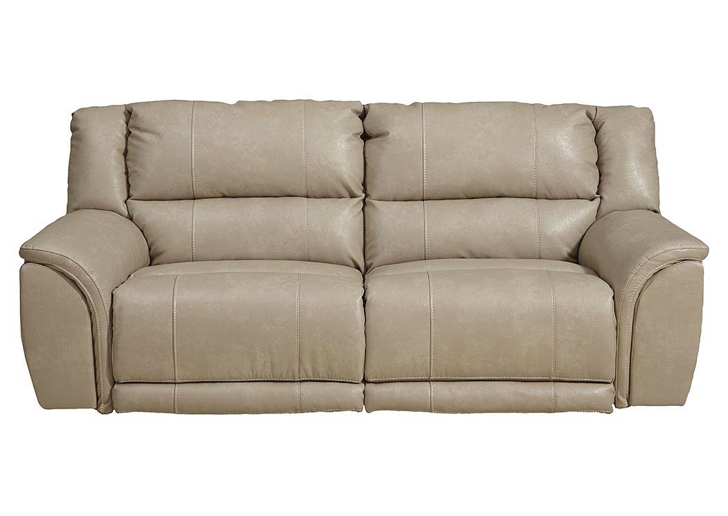 Jarons Carmine Pebble Bonded Leather Power Lay Flat Reclining Sofa