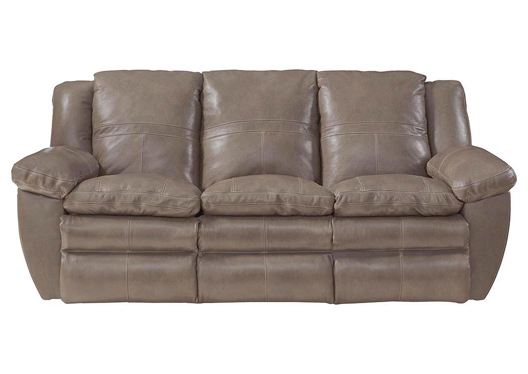Aria Smoke Top Grain Leather Power Lay Flat Reclining Sofa,Catnapper