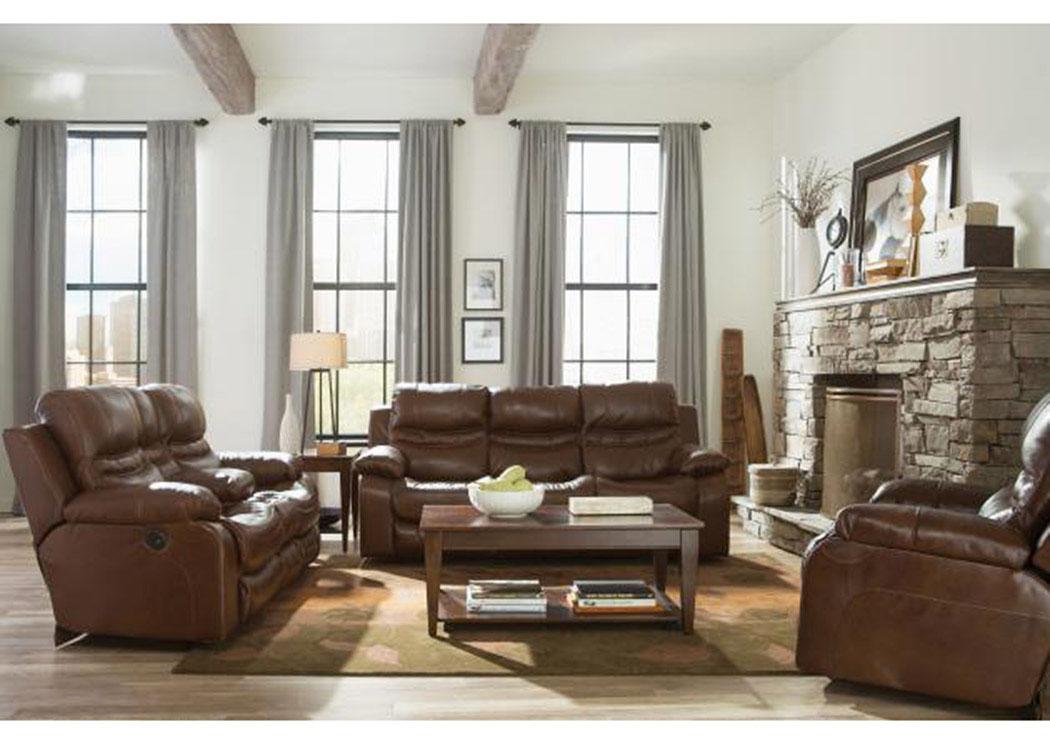 Patton Chestnut Top Grain Leather Power Lay Flat Reclining Sofa U0026 Console  Loveseat,Catnapper