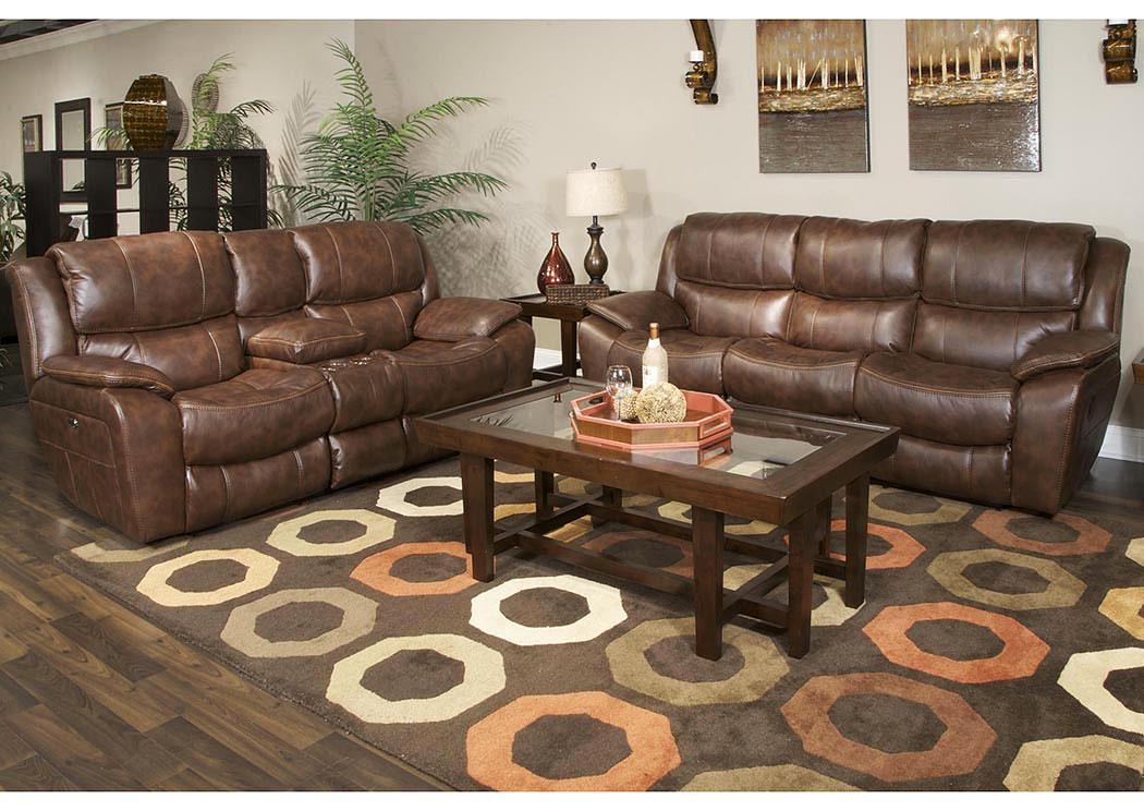 Adams Furniture And Appliance Beckett Java Reclining Sofa U0026 Loveseat  W/Storage U0026 Cupholders U0026 USB Port