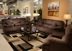 Riley Coffee/Espresso Reclining Sofa & Loveseat w/ Storage & Cupholders