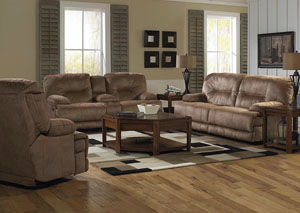 Noble Almond Lay Flat Reclining Console Loveseat