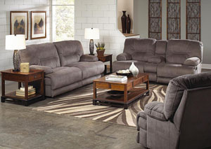 Noble Slate Lay Flat Reclining Console Loveseat