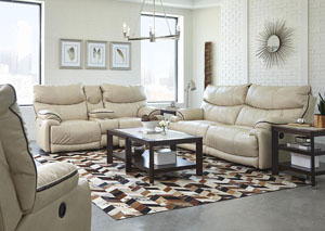 Larkin Buff Lay Flat Reclining Sofa & Loveseat w/Storage & Cupholders & USB Port