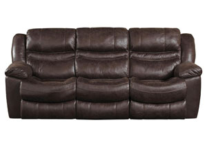 Valiant Coffee Reclining Sofa w/3 Recliner & Drop Down Table
