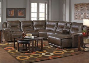 Montgomery Timber Lay Flat Left Facing Recliner Sectional w/Console Storage Box