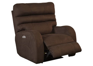 Kelsey Walnut Power Headrest Power Lay Flat Recliner