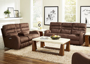 Kelsey Walnut Power Headrest Power Lay Flat Reclining Sofa and Console Loveseat