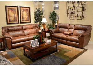 Nolan Chestnut Bonded Leather Extra Wide Reclining Console Loveseat w/ Storage & Cupholders