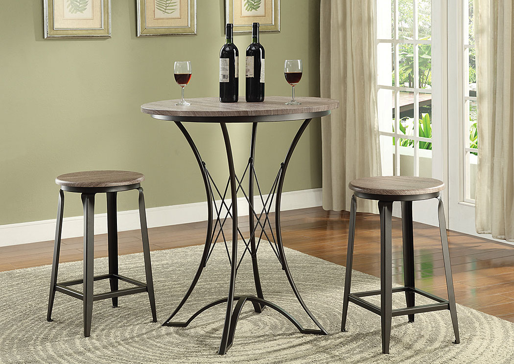 Black 3 Pc Bar Set,Coaster Furniture