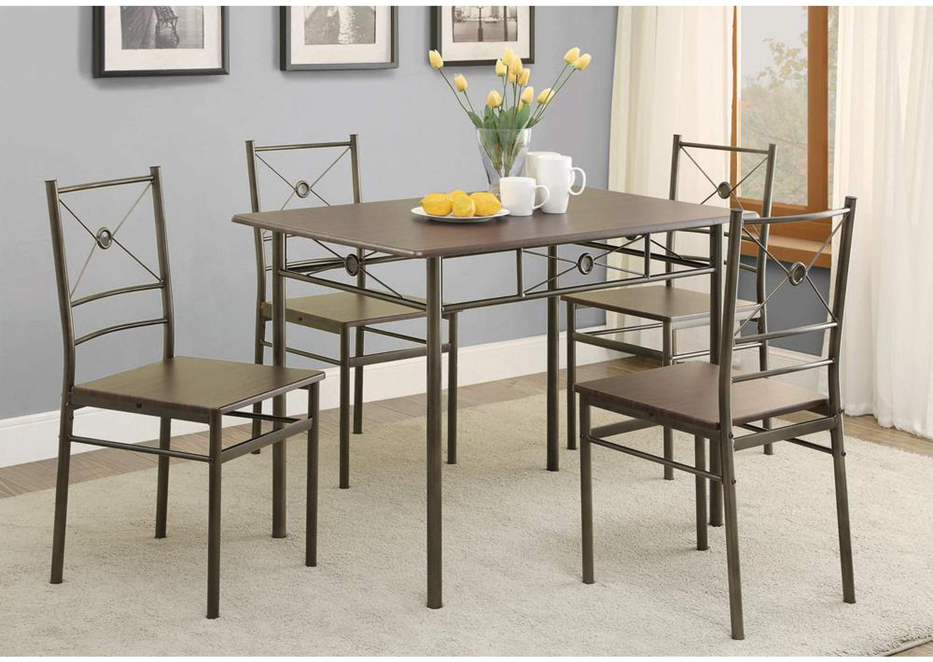Walnut 5 Pc Set,Coaster Furniture
