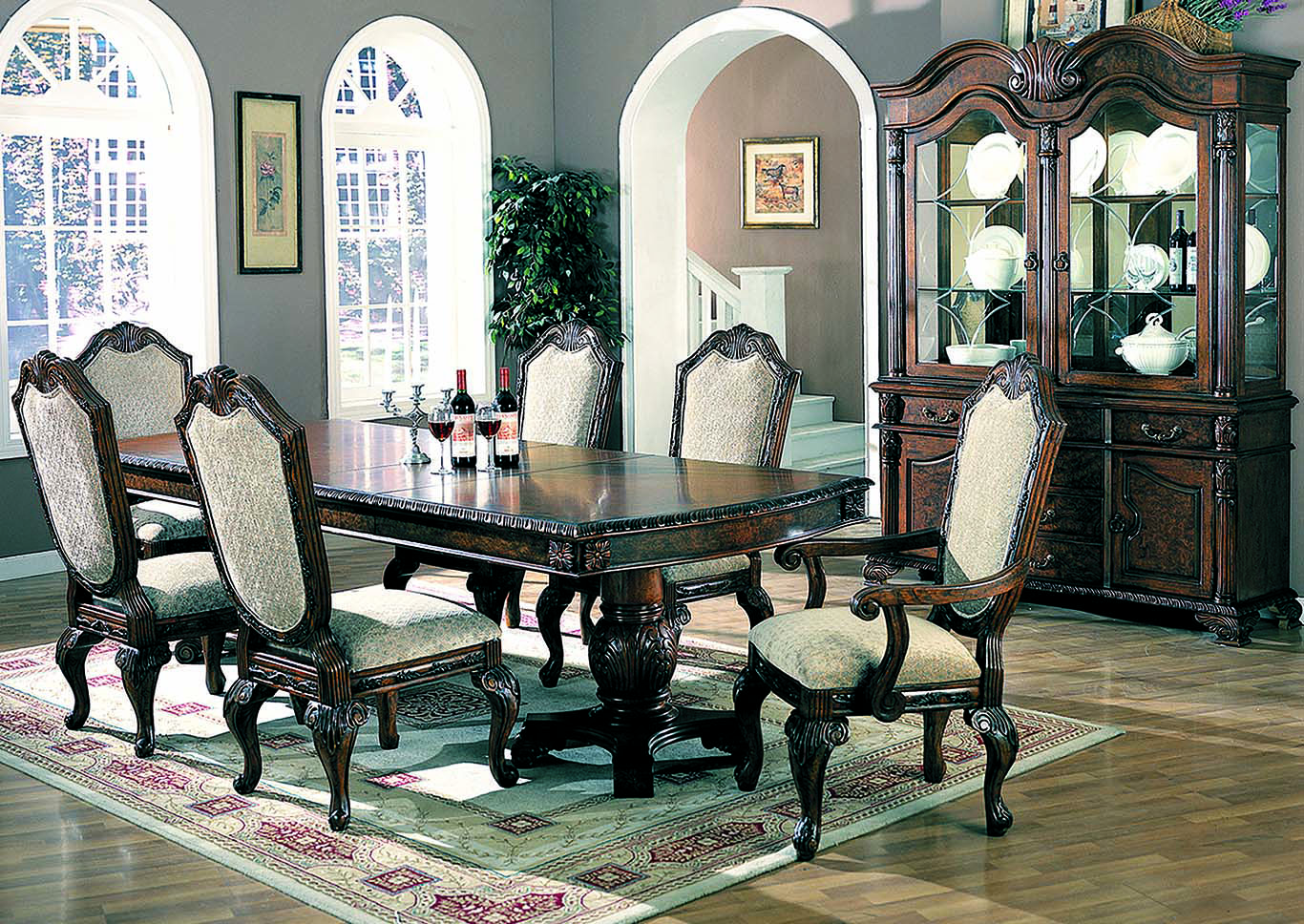 Saint Charles Brown Dining Table W/4 Side Chairs, 2 Arm Chairs, Buffet