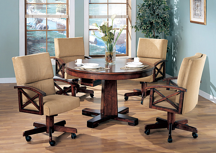 Black & Oak Convertible Dining Table w/ 4 Game Chairs,ABF Coaster Furniture
