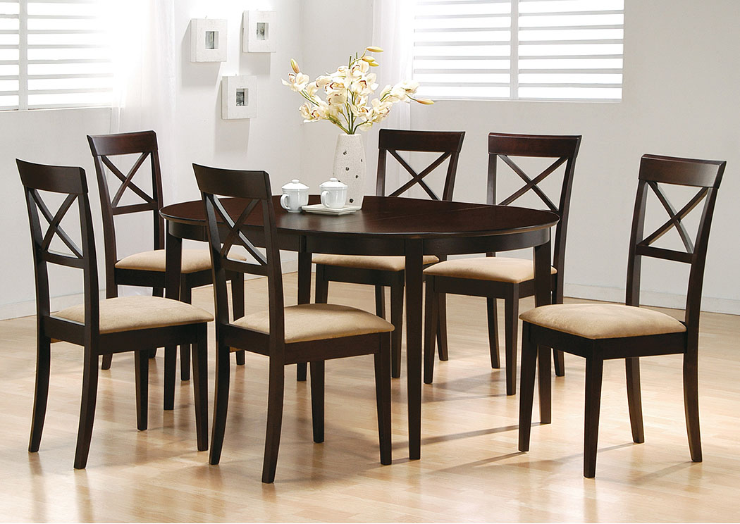 Dining Room Cappuccino Oval Dining Table W 6 Side Chairs