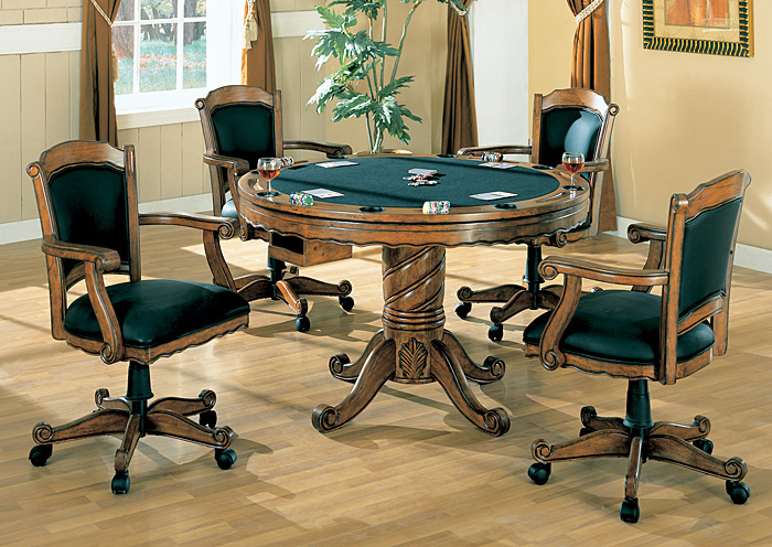 Green Oak Convertible Dining Table Bumper Pool PokerABF Coaster Furniture