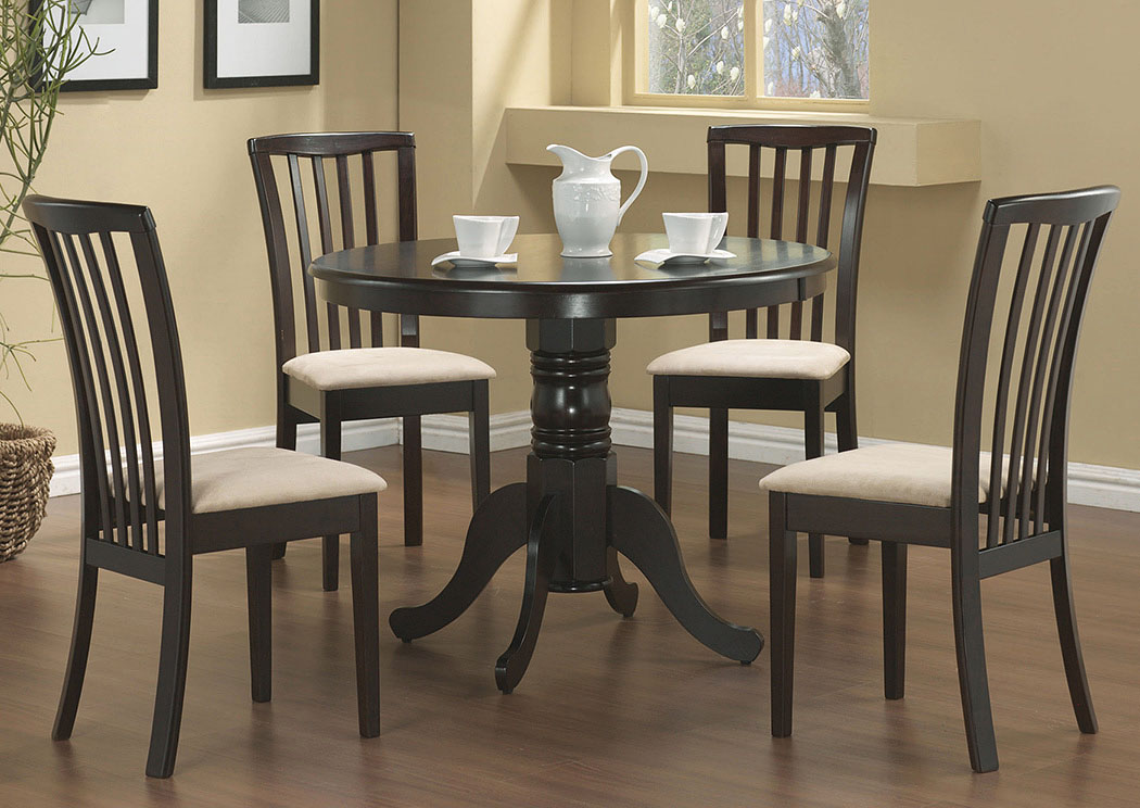Table w/4 Beige & Cappuccino Chairs,Coaster Furniture