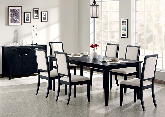 Lexton Black Dining Table w/6 Side Chairs,Coaster Furniture