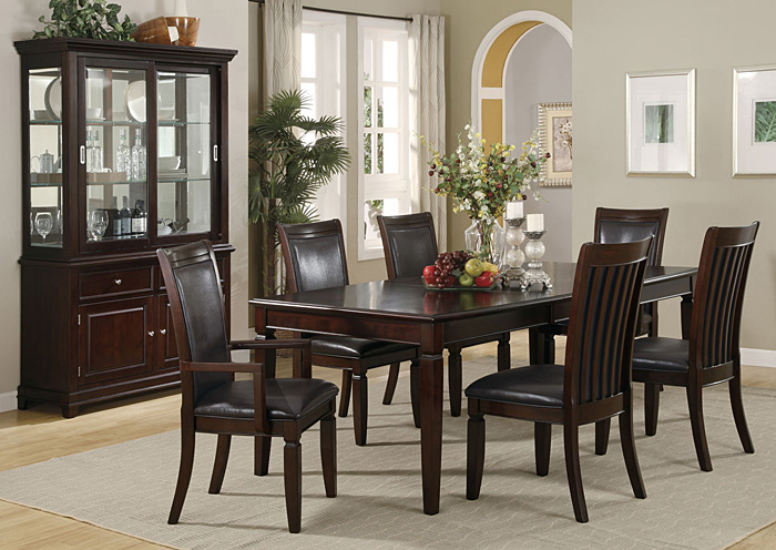 Ramona Walnut Dining Table W 4 Side Chairs 2 Arm Buffet