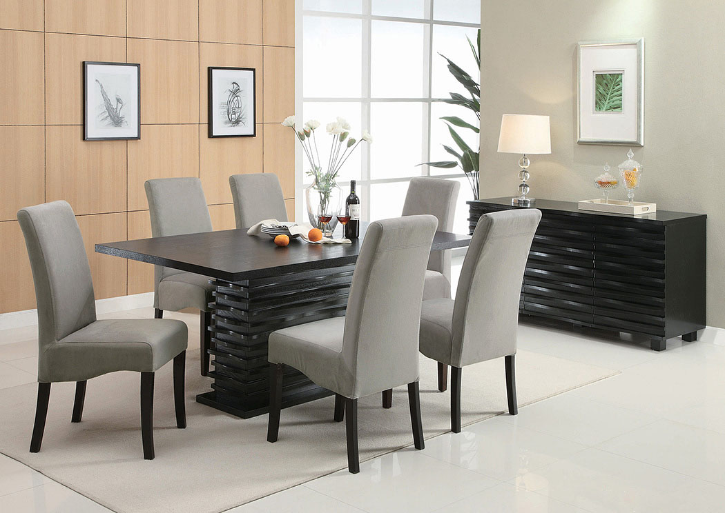 Stanton Black Dining Table w/6 Grey Chairs & Server,Coaster Furniture